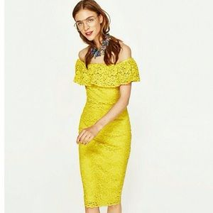 Rare Zara yellow off shoulder dress